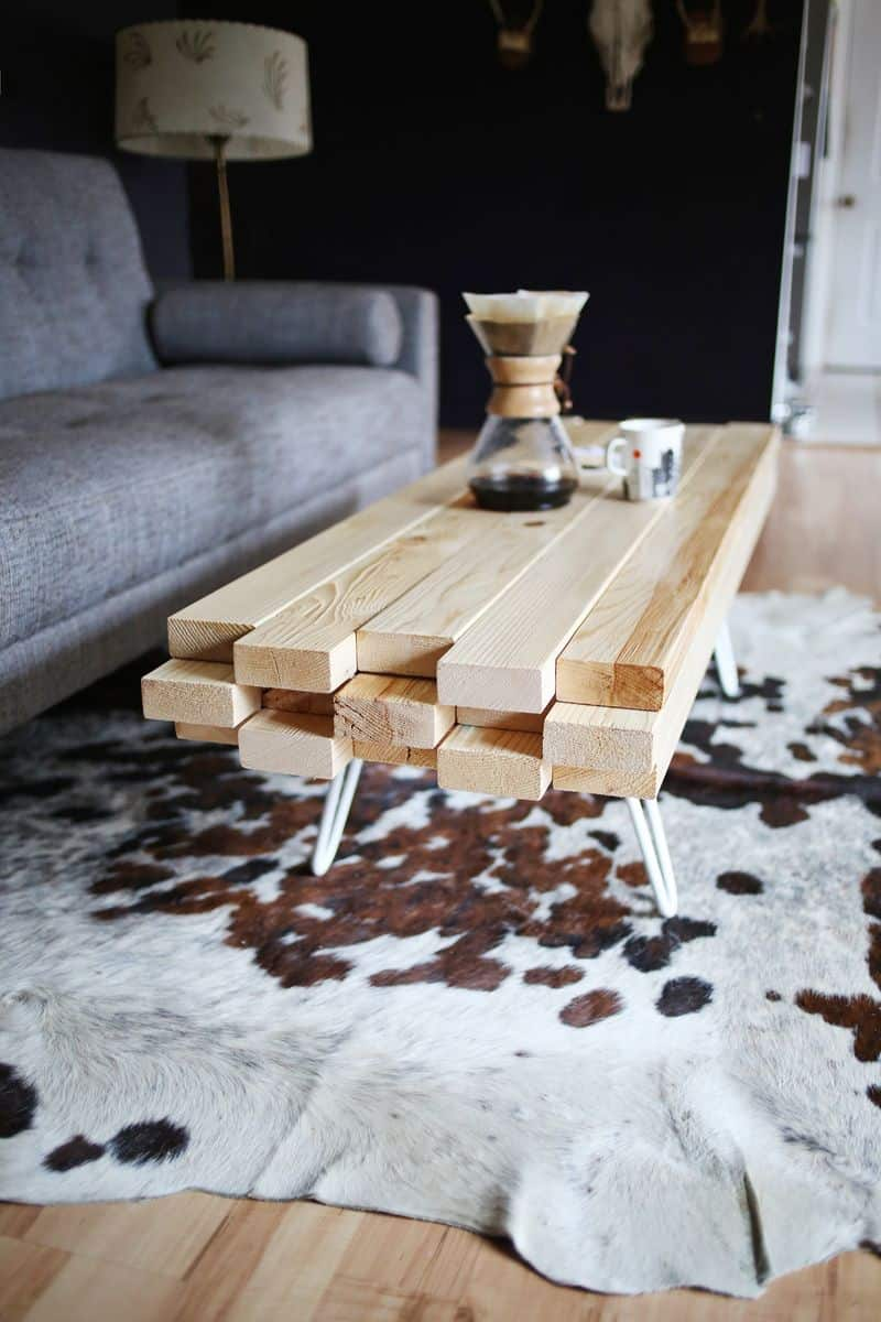 coffee table made from stacked two by fours