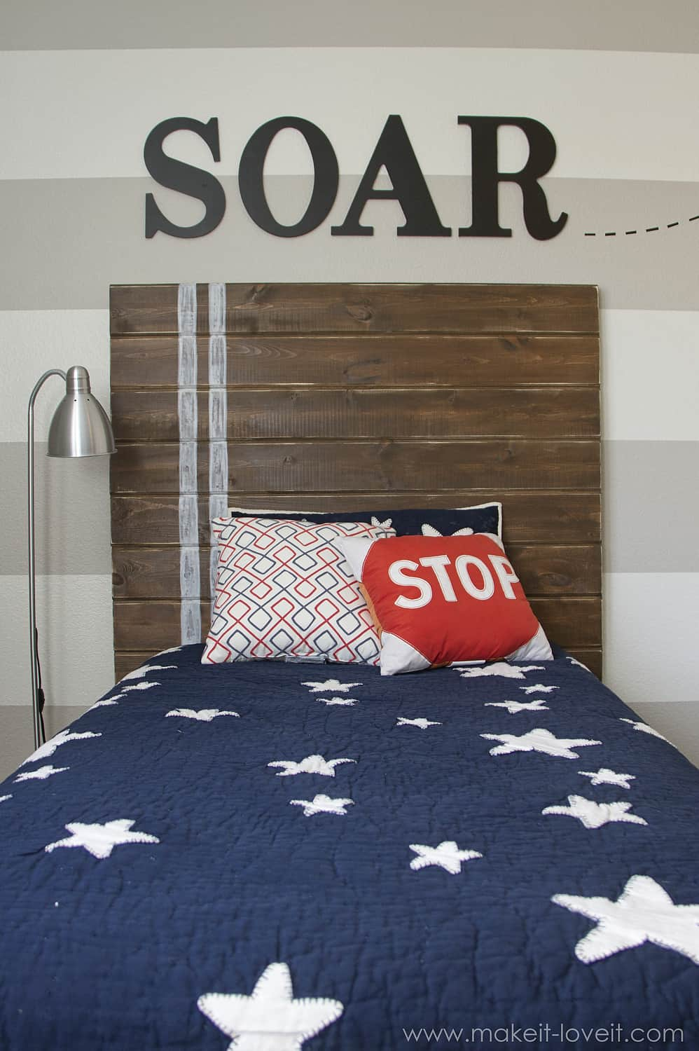 twin bed with wood plank headboard