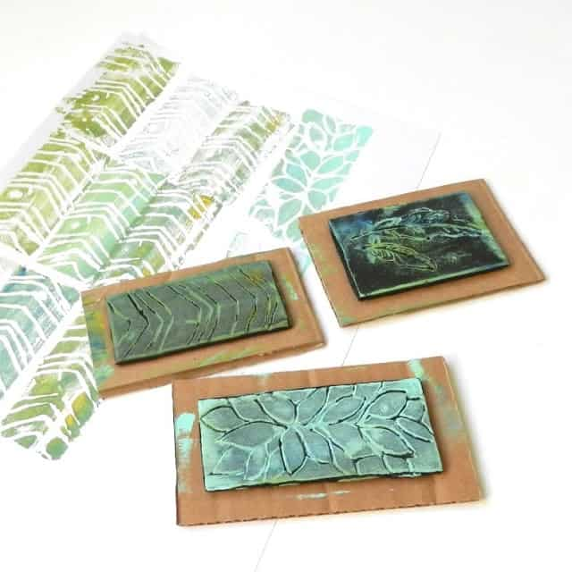 3 stamps made from foam and recycled cardboard in leaf patterns