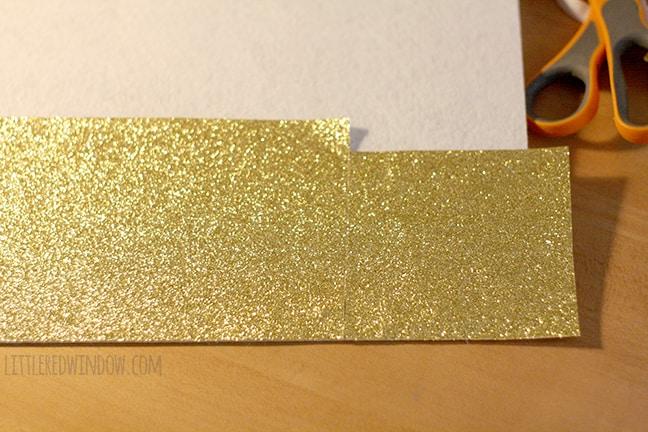 long rectangle of gold sparkle felt