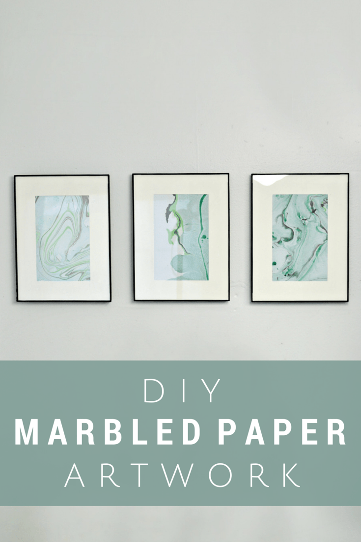 three picture frames filled with green marbled paper