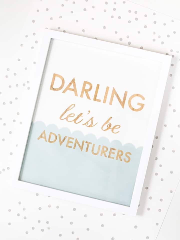 wood art that says DARLING LETS BE ADVENTURERS