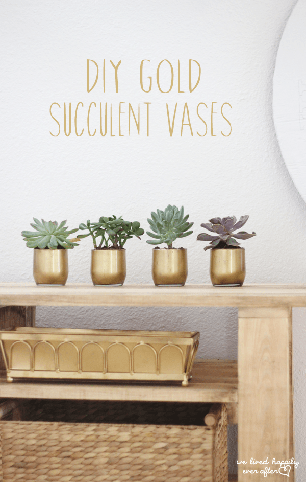 4 gold vases on a shelf holding succulents