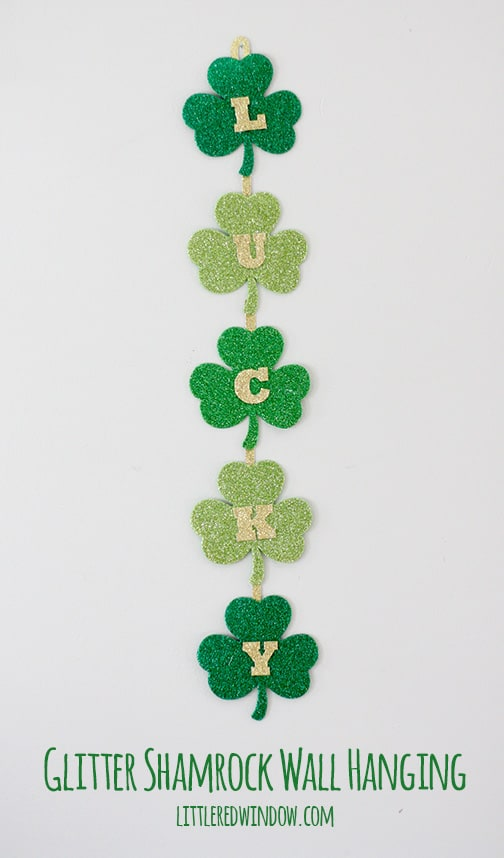 Glittery Lucky Shamrock Wall Hanging  |  littleredwindow.com