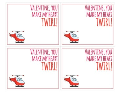 Printable Helicopter Valentine Card - FRONT| littleredwindow.com