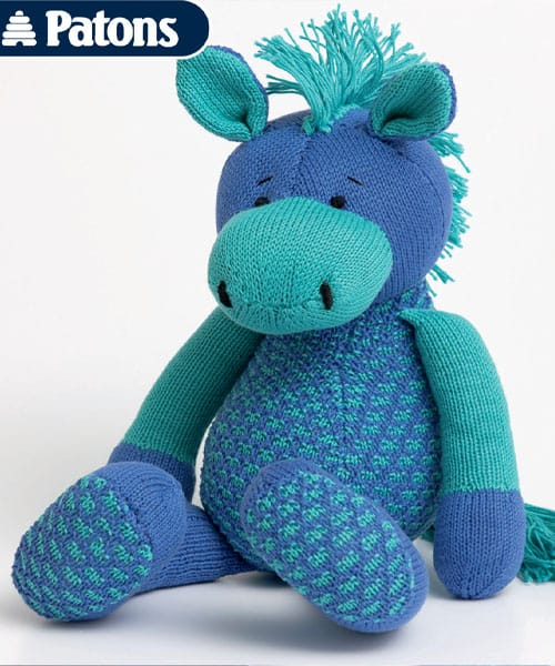 blue and teal knit horse