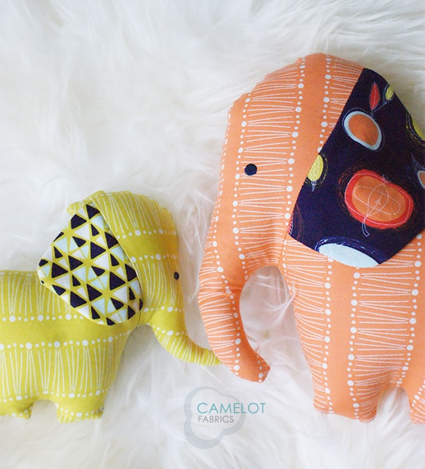 large and small fabric elephants