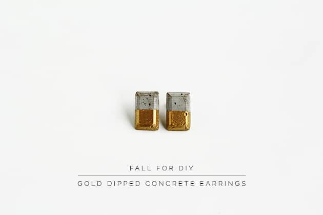 small rectangly concrete stud earrings half dipped in gold