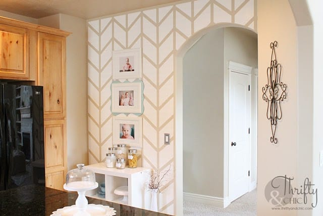 Wall with white painted chevron pattern