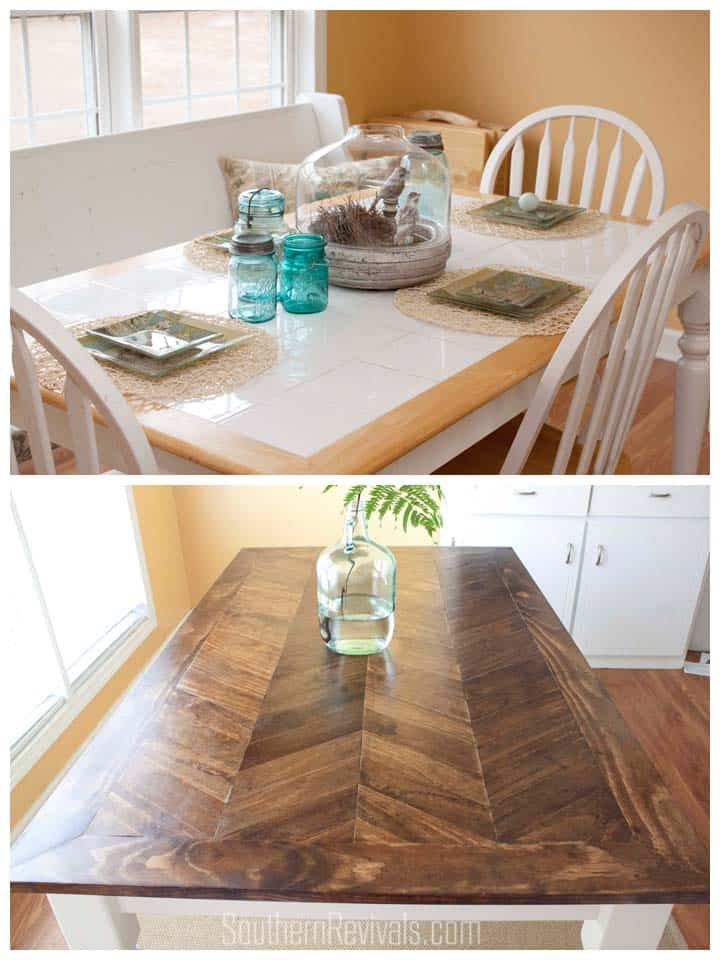 From Tile To Herringbone Table Makeover Southern Revivals