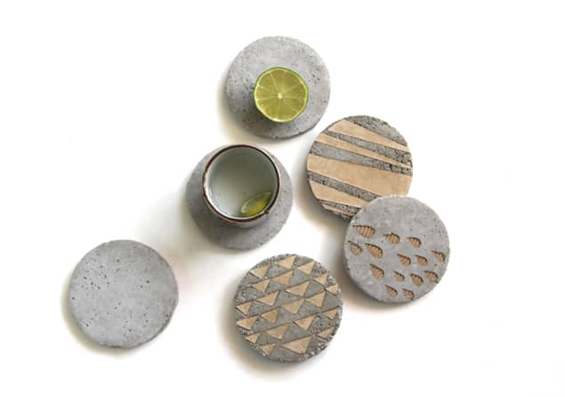 concrete coasters with patterns on them