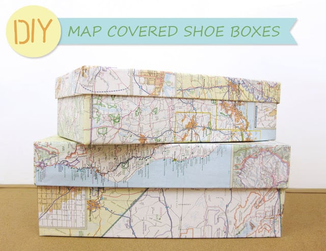 2 map covered shoe boxes