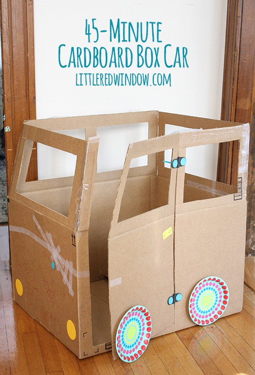 45 Minute Cardboard Box Car| littleredwindow.com | Not all crafts have to be perfect and pinterest-worthy, this cardboard box car is fun to make WITH your kids and is done in less than an hour!