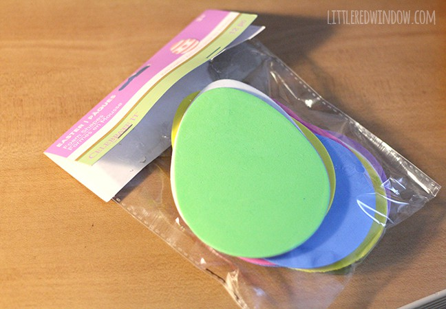 package of pastel colored flat foam egg shapes