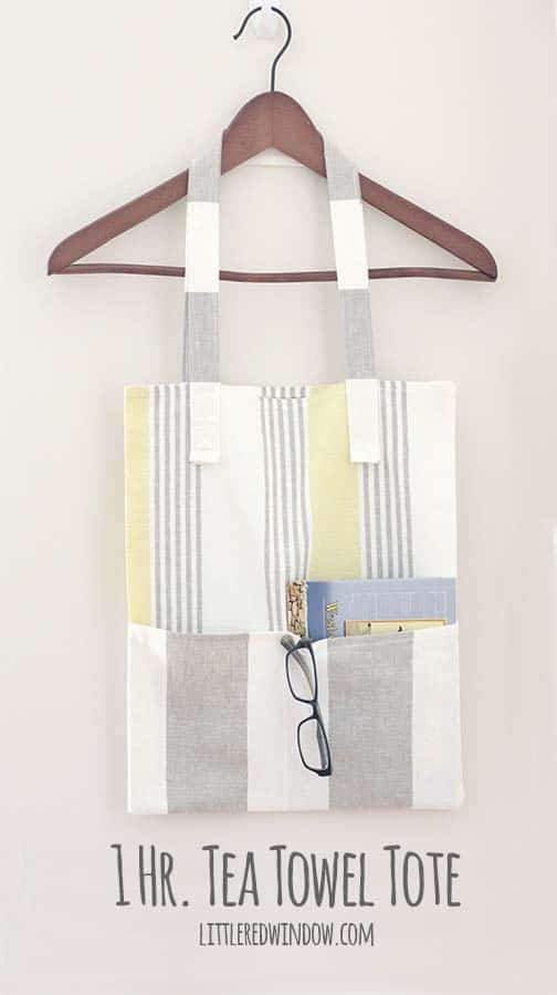 One Hour Tea Towel Tote bag sewing tutorial, this super cute FREE bag pattern is so quick and easy you won't believe it!