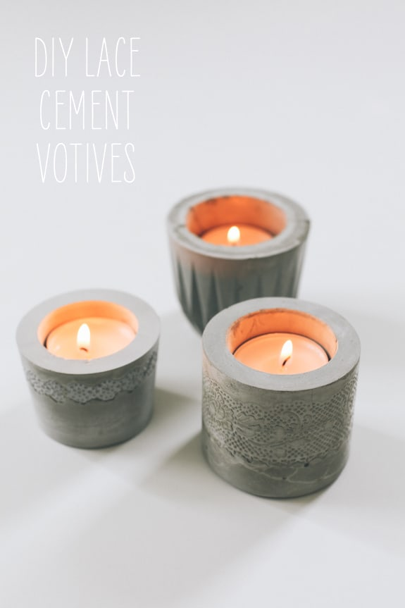 small concrete votives with lace patterns