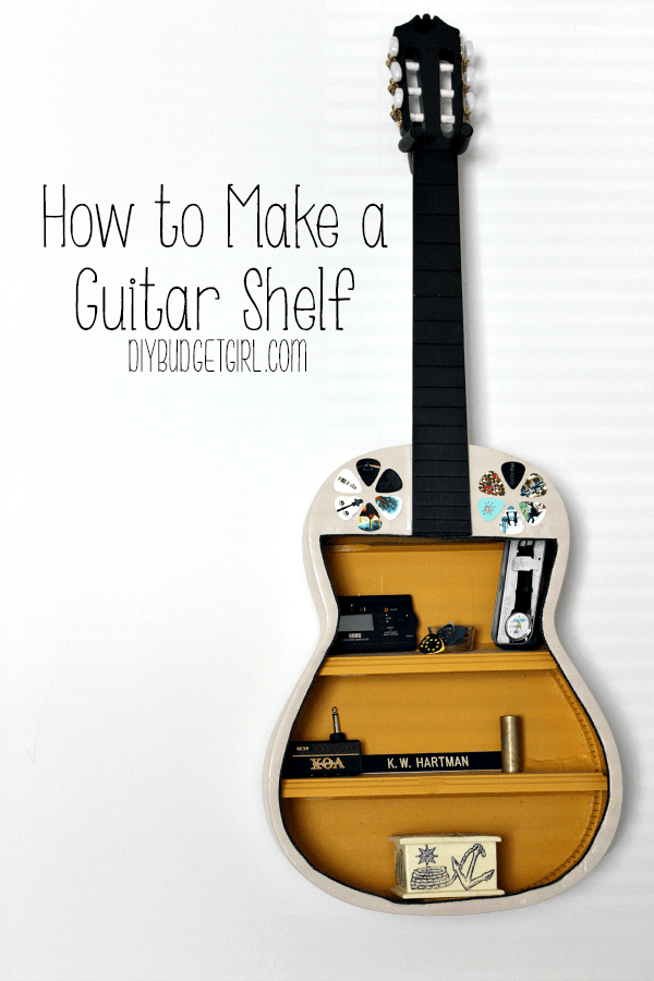 wall shelf made from hollowed out guitar
