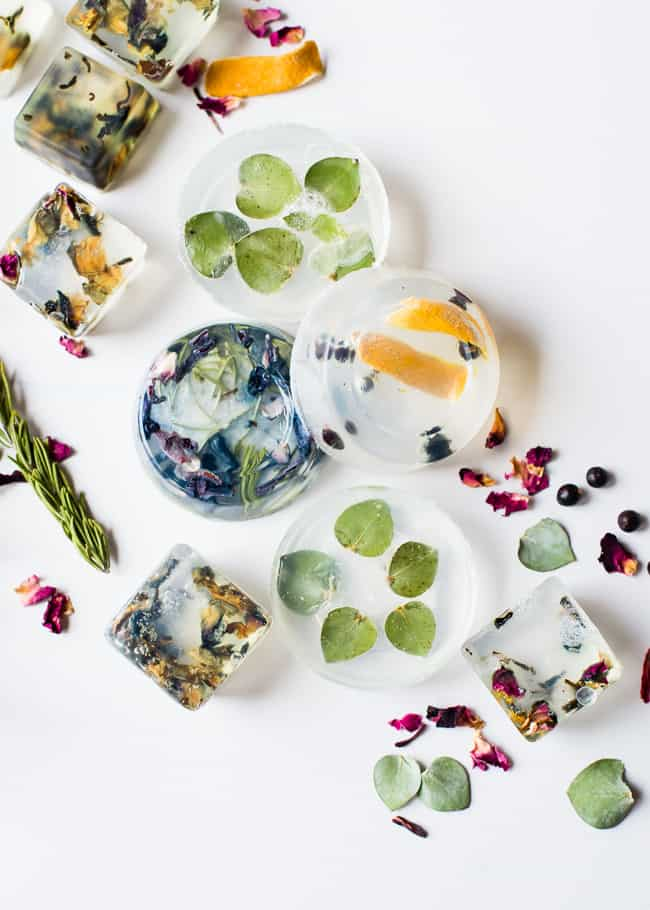 clear bars of soap filled with botanicals