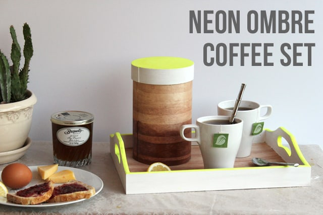 Wood coffee tray and cannister with neon yellow painted accents