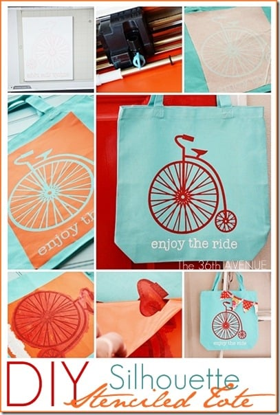 teal tote with stenciled bike pattern