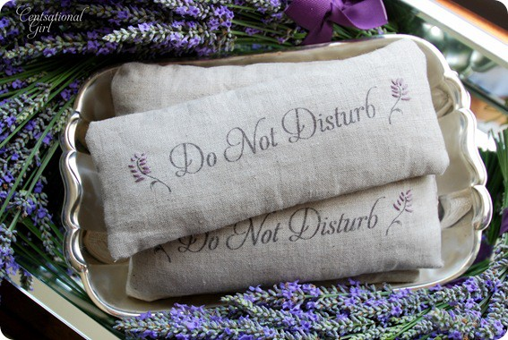 muslin eye pillows filled with lavender that say DO NOT DISTURB