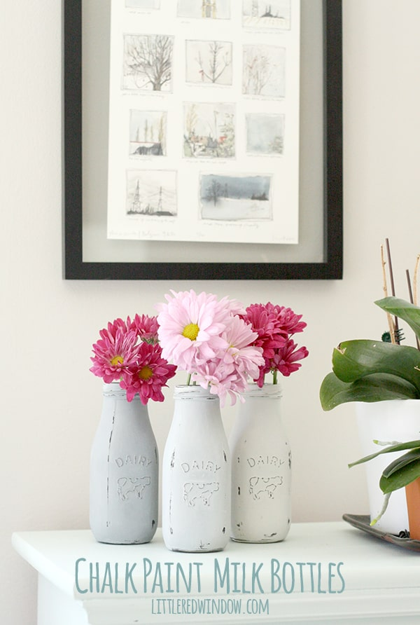 How to Chalk Paint Glass Milk Bottles | littleredwindow.com | It's so easy to use chalk paint to transform these cute little 89 cent milk bottles!