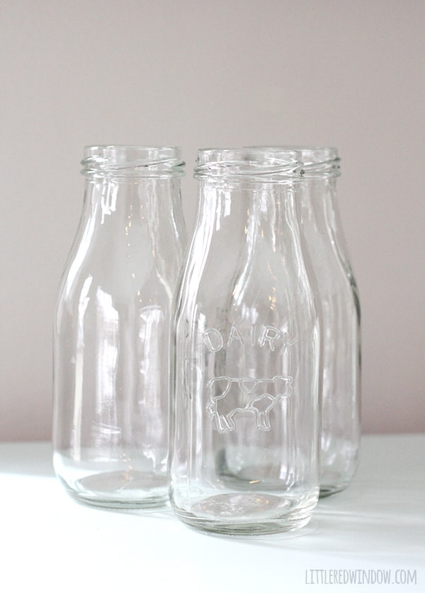 How to Chalk Paint Glass Milk Bottles   littleredwindow.com   It's so easy to use chalk paint to transform these cute little 89 cent milk bottles!