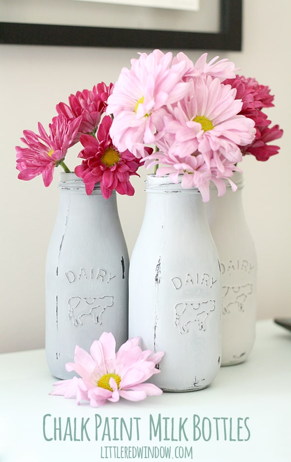 Chalk Painted Milk Bottles | littleredwindow.com | It's so easy to use chalk paint to transform these cute little 89 cent milk bottles!