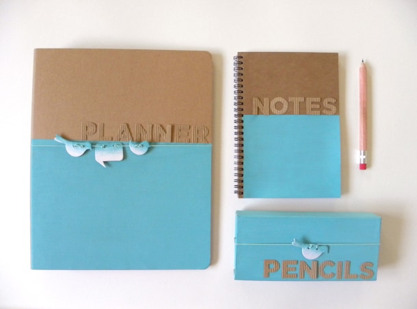 brown notebooks half painted blue