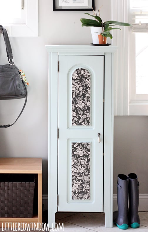Painted Foyer Cabinets : Painted entryway wood cabinet little red window