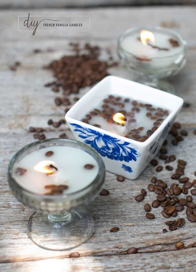small candles filled with coffee beans