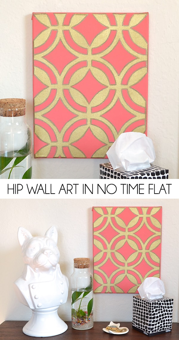 pink and gold geometric wall art