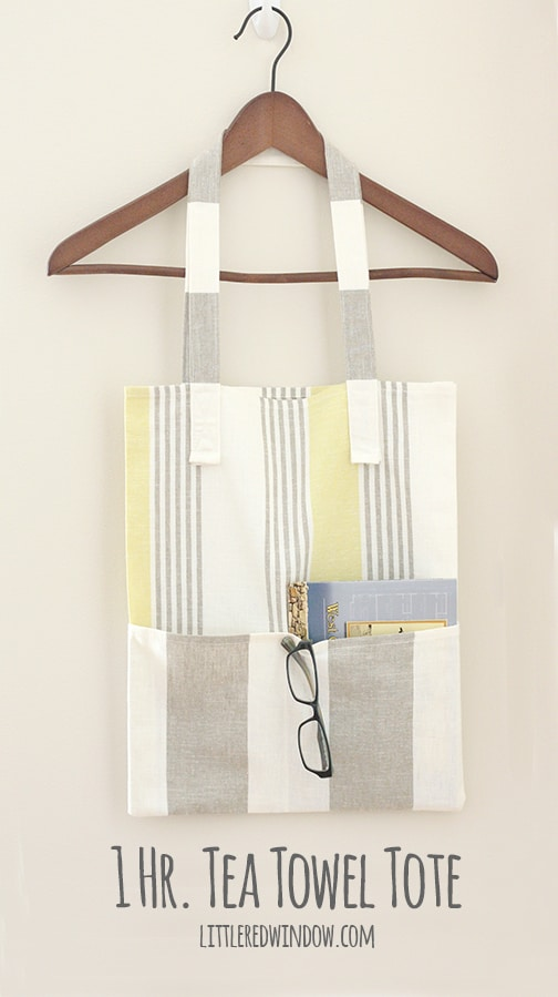 1 Hr. Tea Towel Tote Bag Tutorial | littleredwindow.com | Awesome tutorial to make a simple tote bag from tea towels in under and hour!