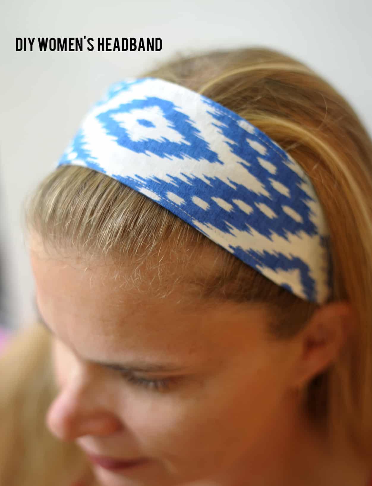 blue and white ikat fabric headband