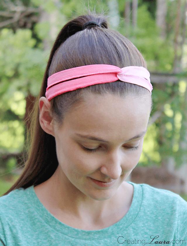 twisted tshirt strip pink headband