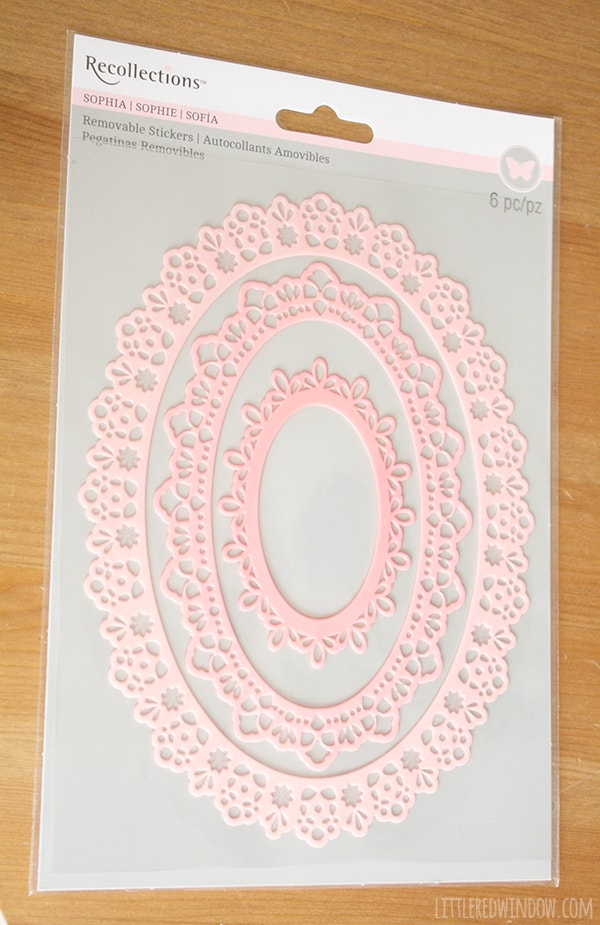 Package of ombre pink scrapbook sticker oval frames