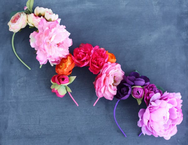 headbands covered in large faux flowers