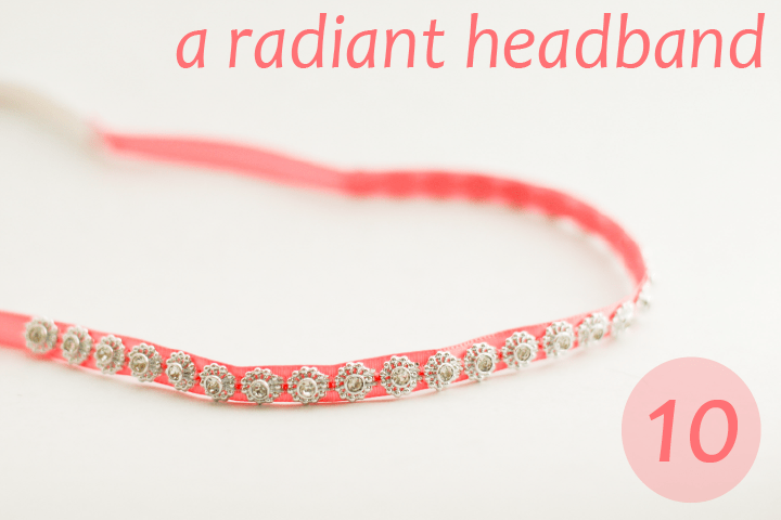 pink ribbon headband with small silver sparkles on it