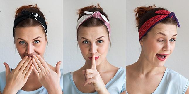 woman wearing three different tied headbands