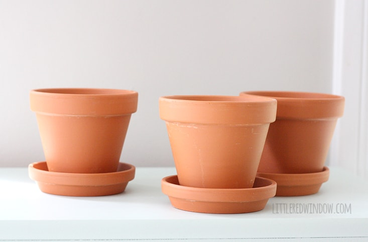 Hello There Stenciled Flower Pots! | littleredwindow.com