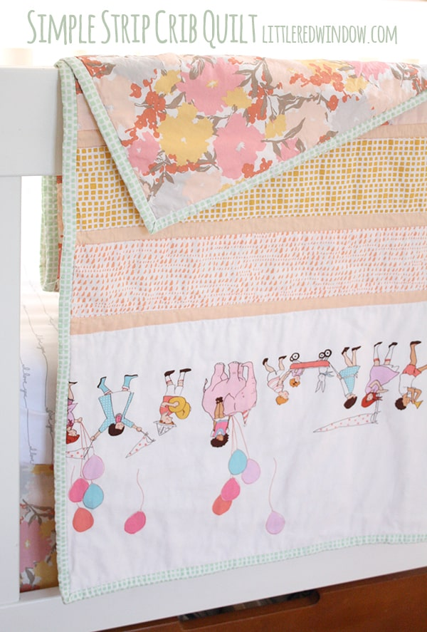 Simple Strip Crib Quilt | littleredwindow.com