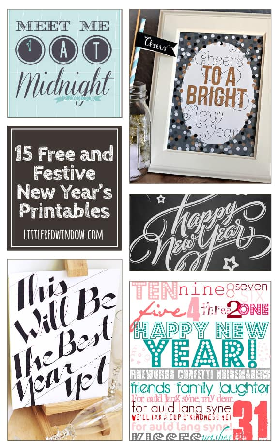 15 Free and Festive New Year's Eve Printables! | littleredwindow.com