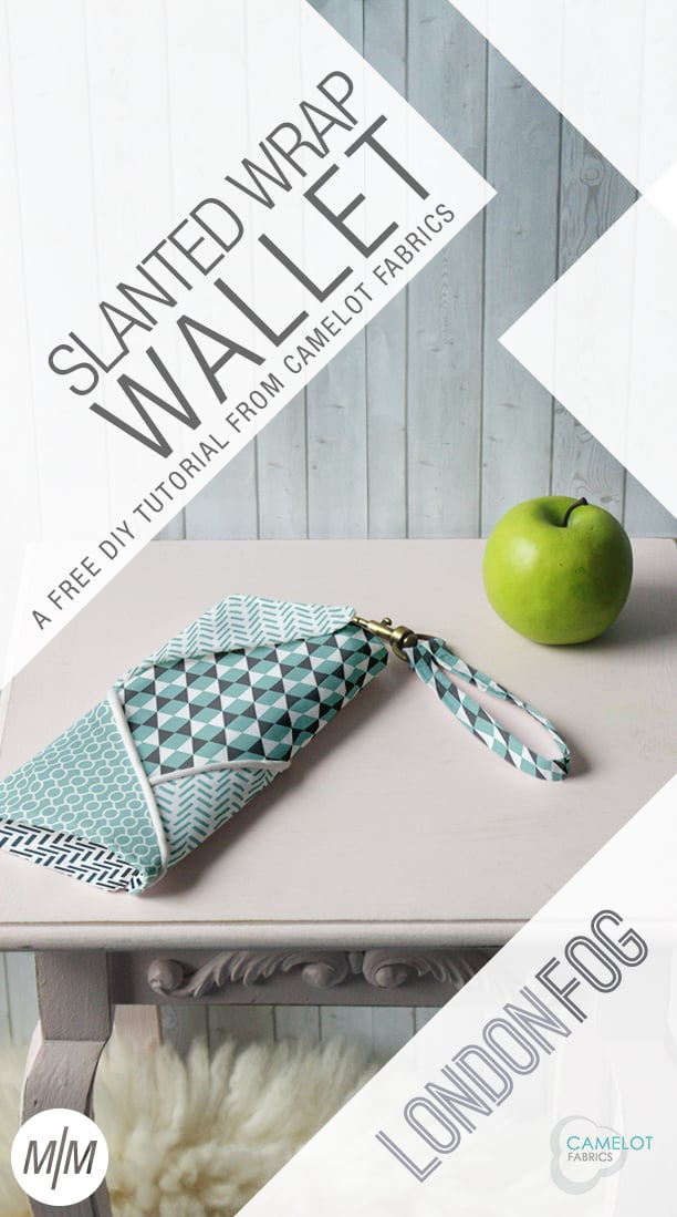 Slanted fabric DIY wallet from Camelot Fabrics