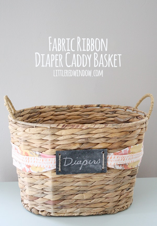 Fabric Ribbon Diaper Caddy Basket - Little Red Window