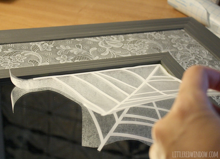 Spooky Halloween Spiderweb Mirror Decal | littleredwindow.com | Quick, cute and totally removable!
