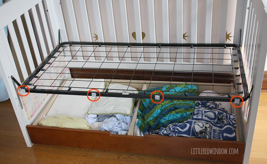 Super Easy No Sew Crib Skirt!    littleredwindow.com   Make your own custom crib skirt in just a few minutes, no sewing machine required!