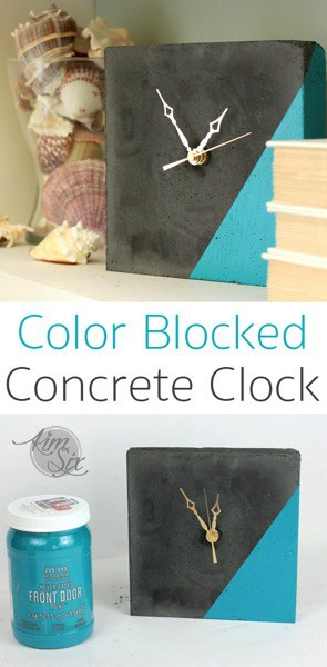 A super easy to make DIY Concrete clock. Love the paint dipped color blocking to make a it a little more modern.