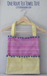 Sew up an adorable Tea Towel Tote in way less than an hour and with only a few seams!