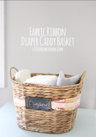Fabric Ribbon Diaper Caddy Basket