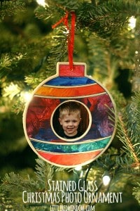 Stained Glass Christmas Photo Ornament | littleredwindow.com |This is a fun project to do with your kids and makes a great gift!